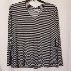 Chicos Shirt Top Easywear Black White